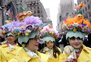 "NEW YORK - MARCH 27: A group of women known as ""The City Chicks"" make their way up Fifth Avenue on Easter Sunday March 27, 2005 in New York City. Hundreds of people gathered along the avenue sporting all types of Easter outfits. (Photo by Stephen Chernin/Getty Images)"