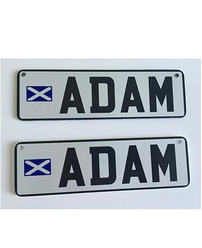 Personalised pram number plates