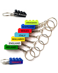Six nations and world cup rugby Lego keychains
